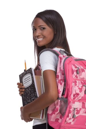 education series - Friendly ethnic black female high school student with backpack and composition book Stock Photo - 6524877