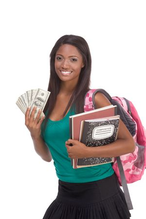 scholarship: education financial aid Ethnic black African-American college student holds pile 100 (one hundred) dollar bills happy getting money help to subsidies costly university cost