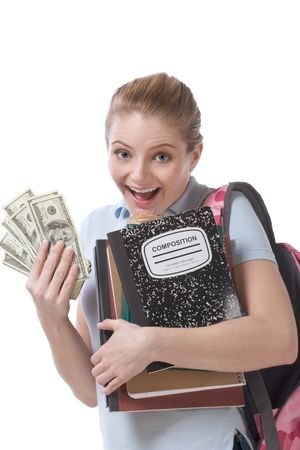 education financial aid Caucasian college student holds pile 100 (one hundred) dollar bills happy getting money help to subsidies costly university cost Archivio Fotografico