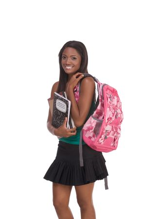 education series - Friendly ethnic black female high school student with backpack and composition book