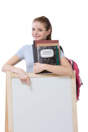 education financial aid Caucasian college student holds pile 100 (one hundred) dollar bills happy getting money help to subsidies costly university cost. Copy space board Stock Photo - 6637892