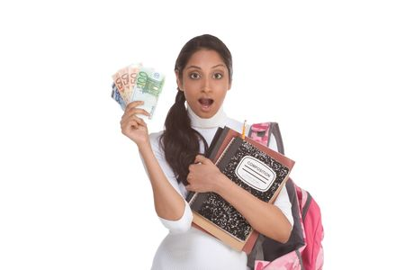 brunnett: Ethnic Indian college student with compositions notebook, copybooks and backpack holds pile 100 (one hundred), 50 (fifty) and 20 (twenty) euro bills happy getting money help to subsidies costly university cost