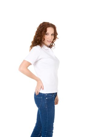 Fashion model in white t-shirt and blue jeans Stock Photo - 6637888