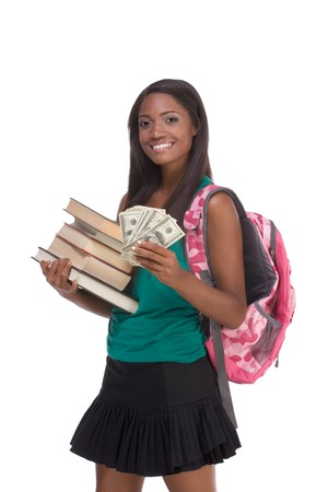 education financial aid Ethnic black African-American college student holds pile 100 (one hundred), 50 (fifty) and 20 (twenty) euro bills banknotes happy for money help to subsidize costly university cost photo