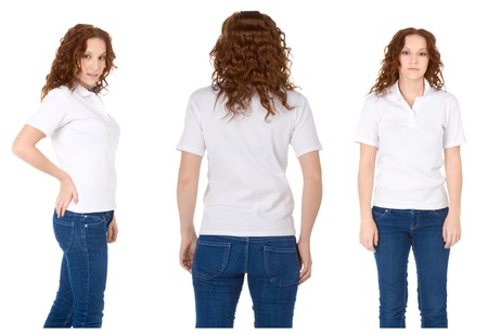 polo shirt: Fashion model in white t-shirt and blue jeans (Multiple angles)
