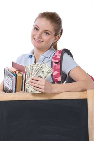 education financial aid Caucasian college student holds pile 100 (one hundred) dollar bills happy getting money help to subsidies costly university cost. Copy space - blackboard
