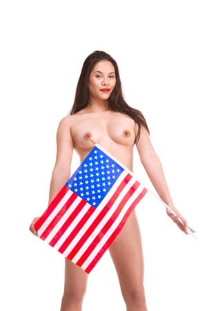 Topless young Asian woman standing holding American flag in front of her Stock Photo - 8145158