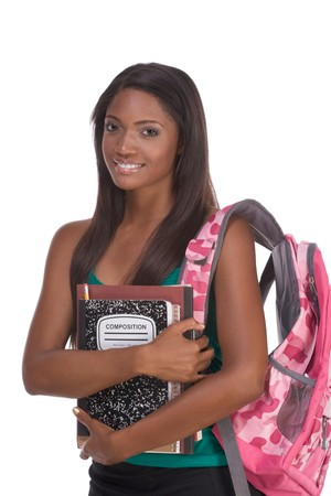 education series - Friendly ethnic black female high school student with backpack and composition book Stock Photo - 8251730