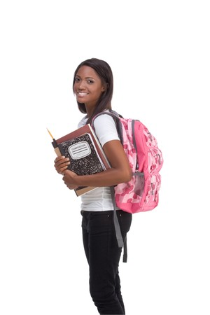 education series - Friendly ethnic black female high school student with backpack and composition book Stock Photo - 8251753
