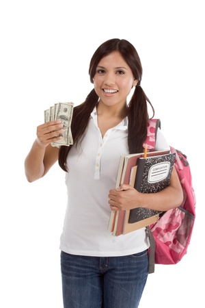Ethnic Hispanic college student with notebook and backpack holds pile 100 (one hundred) dollar bills happy getting money help to subsidies costly university cost 免版税图像