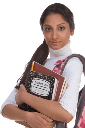 education series - Friendly ethnic Indian female high school student with backpack and composition book Standard-Bild