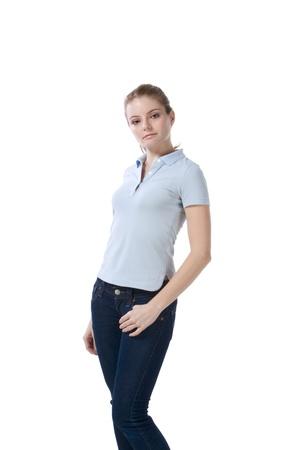 Caucasian teenaged female student wearing uniform like outfit Standard-Bild