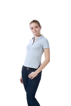 Caucasian teenaged female student wearing uniform like outfit Archivio Fotografico