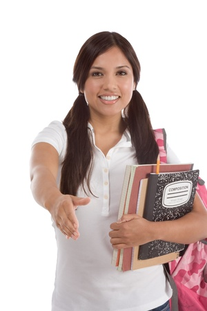 latina girl: education series - Friendly ethnic Latina female high school student with backpack and composition book greeting you