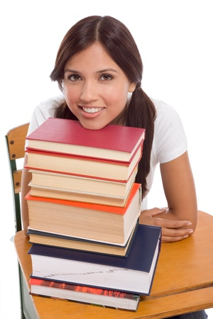 Friendly Hispanic College student with books photo