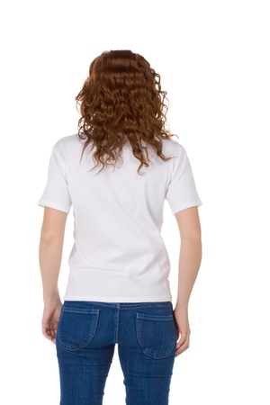 Fashion model in white t-shirt and blue jeans Stock Photo - 8613929