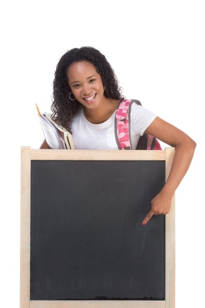 african ethnicity: education series template - Friendly ethnic black woman high school student by chalkboard