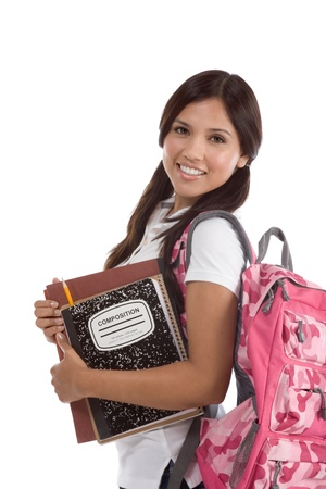 education series - Friendly ethnic Latina female high school student with backpack and composition book Banque d'images