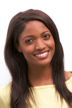 Toothy smile of cheerful young Afro American female with dark long hair Stock fotó