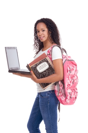 education series template - Friendly ethnic black woman high school student with portable computer Archivio Fotografico