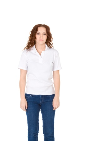 Fashion model in white t-shirt and blue jeans