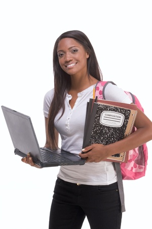 african ethnicity: education series template - Friendly ethnic black woman high school student typing on portable computer Stock Photo