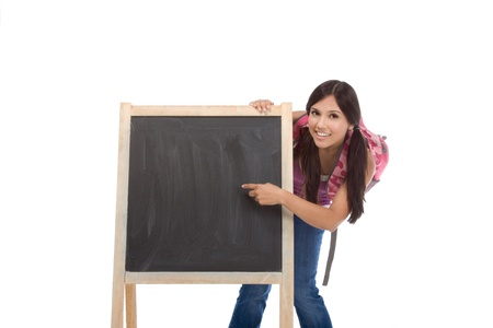 education - Latina college student with backpack pointing to Copy space board Stock Photo - 9191617