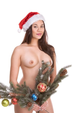 Sexy nude Asian woman branches of decorated Christmas tree Stock Photo - 9498535
