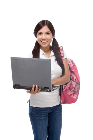 education series - Friendly ethnic Latina woman high school student with portable computer