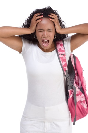adolescência: depressed ethnic African-American black young woman with backpack holding head