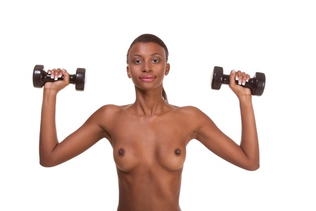 Bodybuilding nude topless black Afro-American female weightlifting exercising with dumbbells Stock Photo - 9897403
