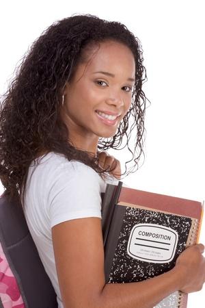j�venes de secundaria: serie de educaci�n - amistoso �tnicos negro femenino estudiante de secundaria con libro de mochila y composici�n