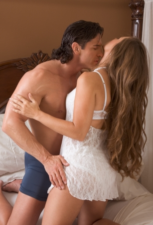 Sexy Caucasian couple in love sexual games and sex photo