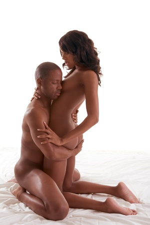 naked man: Lovers - African-American black sensual couple making love in bed