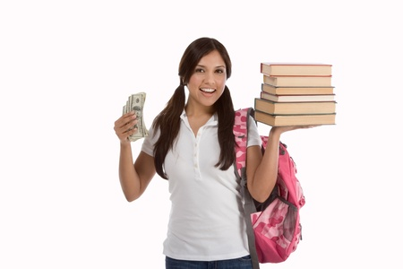 Ethnic Hispanic college student with notebook and backpack holds pile 100 (one hundred) dollar bills happy getting money help to subsidies costly university cost Archivio Fotografico