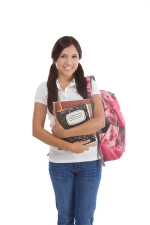 education series - Friendly ethnic Latina female high school student with backpack and composition book photo