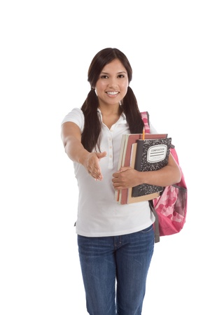 education series - Friendly ethnic Latina female high school student with backpack and composition book greeting you