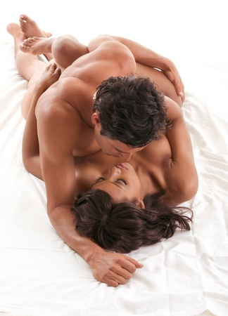 Lovers - sensual couple making love. African-American black woman and Hispanic man Stock Photo - 10425809