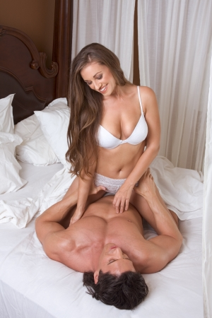 sex couple: Sexy Caucasian couple in love sexual games and sex