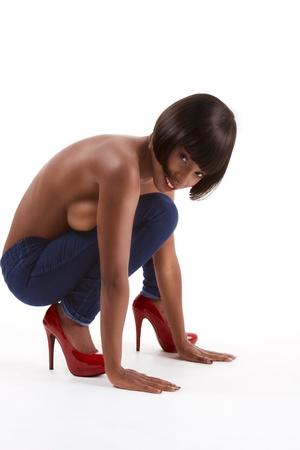 Beautiful topless ethnic black African American woman fashion model Stock Photo - 10490123