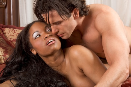 african american nude: Interracial Lovers - sensual heterosexual couple making love. African-American black woman and Caucasian man Stock Photo
