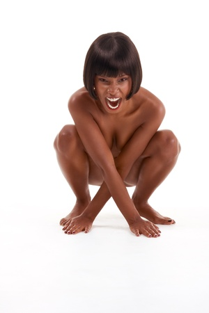 Screaming naked topless black ethnic African-American woman Stock Photo - 10778416