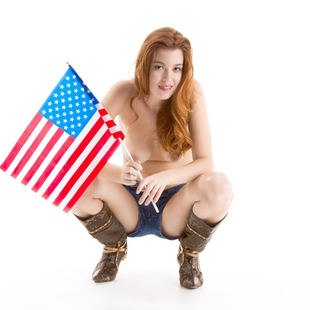 Topless Caucasian woman holding American flag Stock Photo - 10804491