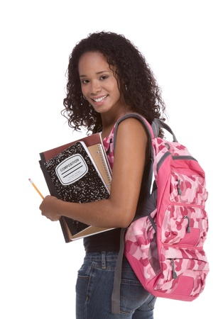 highschool student: education series - Friendly ethnic black female high school student with backpack and composition book
