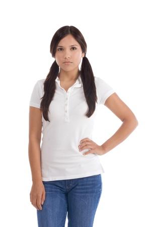 Latina teenage girl female student wearing uniform like outfit