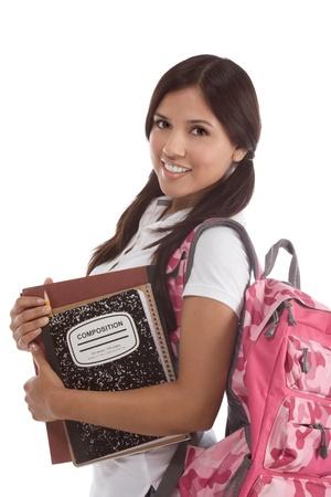 Onderwijs serie - Friendly etnische Latina vrouwelijke middelbare school student met rugzak en samenstelling boek Stockfoto - 11320765