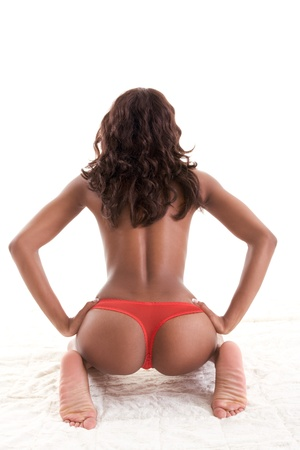Beautiful ass buttocks of ethnic black Afro-American female Stock Photo