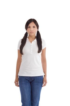 Latina teenage girl female student wearing uniform like outfit photo