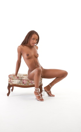 Young sexy nude ethnic black African-American woman