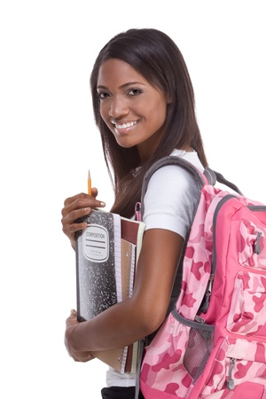 brunnet: education series - Friendly ethnic black female high school student with backpack and composition book